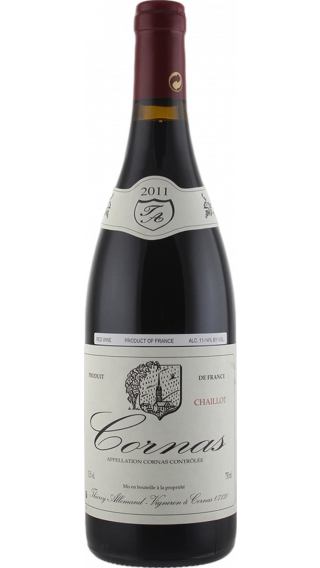 Bottle of Thierry Allemand Cornas Chaillot 2011 wine 750 ml