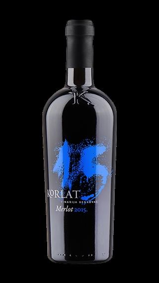 Bottle of Korlat Merlot 2015 wine 750 ml