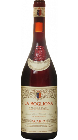 Bottle of Scarpa La Bogliona Barbera d'Asti 2011 wine 750 ml