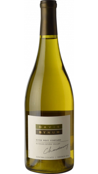 Bottle of Davis Bynum River West Vineyard Chardonnay 2014 wine 750 ml
