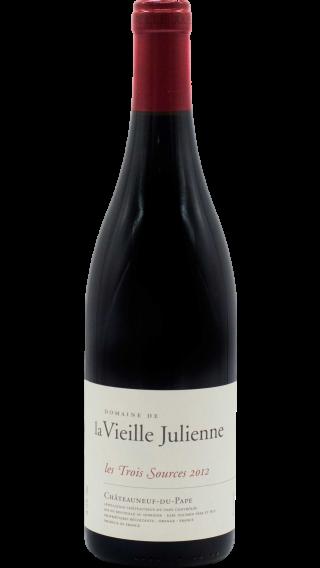 Bottle of Vieille Julienne Chateauneuf du Pape les Trois Sources 2012 wine 750 ml