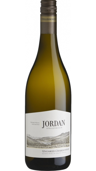 Bottle of Jordan Unoaked Chardonnay 2018 wine 750 ml