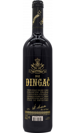 Bottle of Matusko Dingac 2012 wine 750 ml